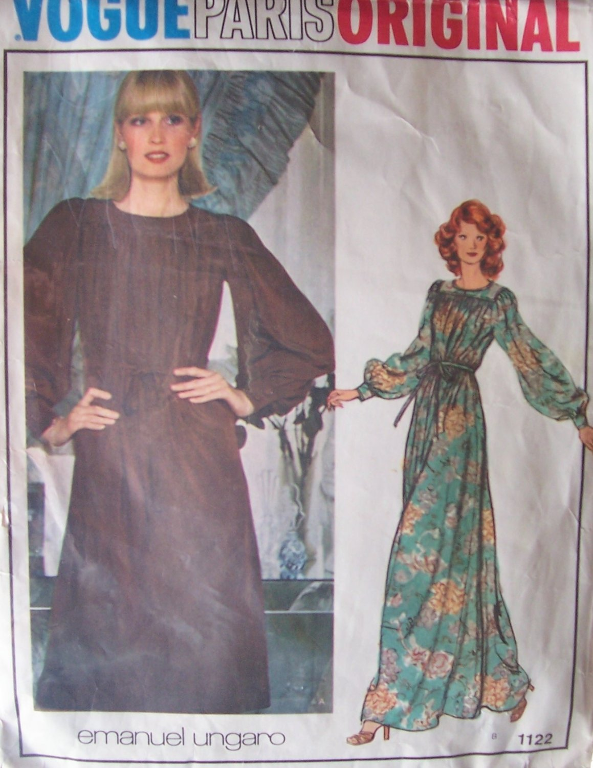 Vintage 70�s Vogue 1122 Emanuel Ungaro Paris Original Evening Maxi Dress Pattern Size 14 Bust 36