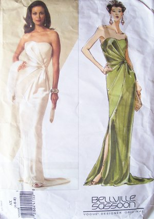Vogue 2929 Bellville Sassoon Strapless Asymmetrical Evening Dress Pattern Uncut Size 4-8
