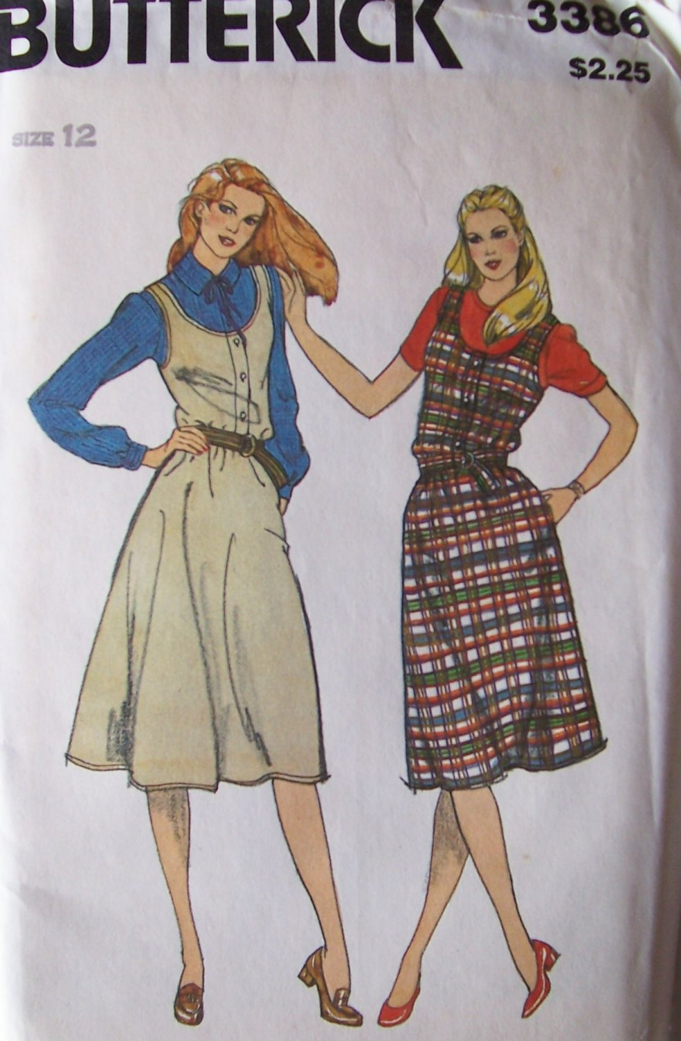 Retro 80s Butterick 3386 Flared Jumper Dress Pattern Scoop Neck Uncut Size 12 Bust 34