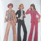 Vintage 70s Simplicity 7214 Wide Leg Pants Vest Shirt and Ascot Pattern Uncut Size 12 Bust 34