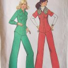 Vintage 70s Simplicity 7301 Yoked Shirt Jacket Wide Leg Pants Pattern Uncut Size 12 Bust 34