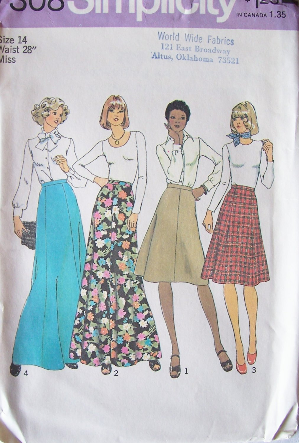 Vintage 70s Simplicity 7308 Gored Skirt Pattern Evening Length or Short Uncut Size 28 Waist