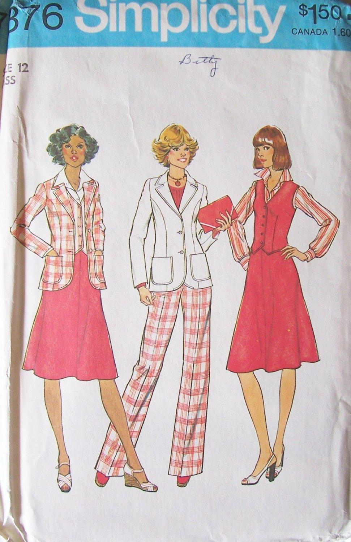 Vintage 70s Simplicity 7376 Princess Seam Jacket Vest Skirt and Pants Pattern Uncut Size 12 Bust 34