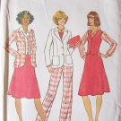 Vintage 70s Simplicity 7376 Princess Seam Jacket Vest Skirt and Pants Pattern Uncut Size 12 Bust 34