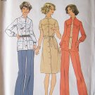 Vintage 70s Simplicity 7151 Front Button Standing Collar Dress Top and Pants Pattern Uncut Size 12