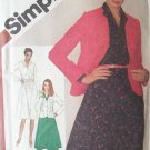 Vintage 1980 Simplicity 9778 Wing Collar Dress Cardigan Dress Pattern Uncut Size 12