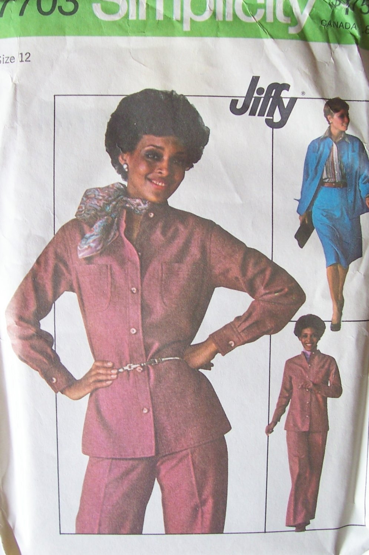 Vintage 70�s Simplicity 7703 Shirt Jacket Pants and Skirt Pattern Uncut Size 12 Bust 34