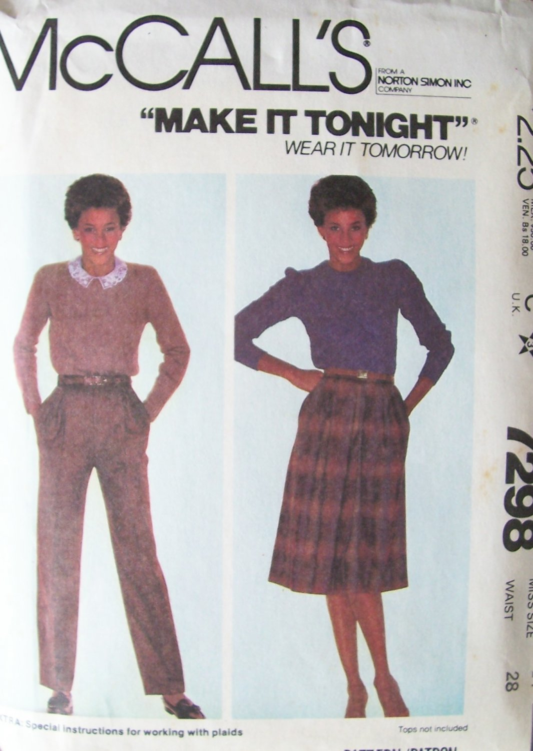 Vintage 80�s McCall�s 7298 Front Pleat Skirt and Pants Pattern Uncut Size 14 Waist: 28