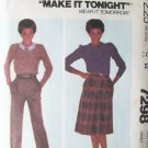 Vintage 80's McCall's 7298 Front Pleat Skirt and Pants Pattern Uncut Size 14 Waist: 28