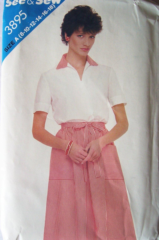 Retro 80�s Butterick 3895 Short Sleeve Top A-Line Wrap Skirt Pattern Uncut Size 8-16