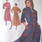 Vintage 80's Simplicity 7040 Button Front Shirtdress Pattern Long Sleeve Size 10-14