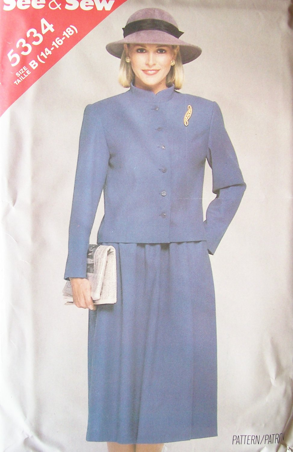 Vintage 80s Butterick 5334 See and Sew Front Button Jacket Flared Skirt Pattern Uncut Size 14-18