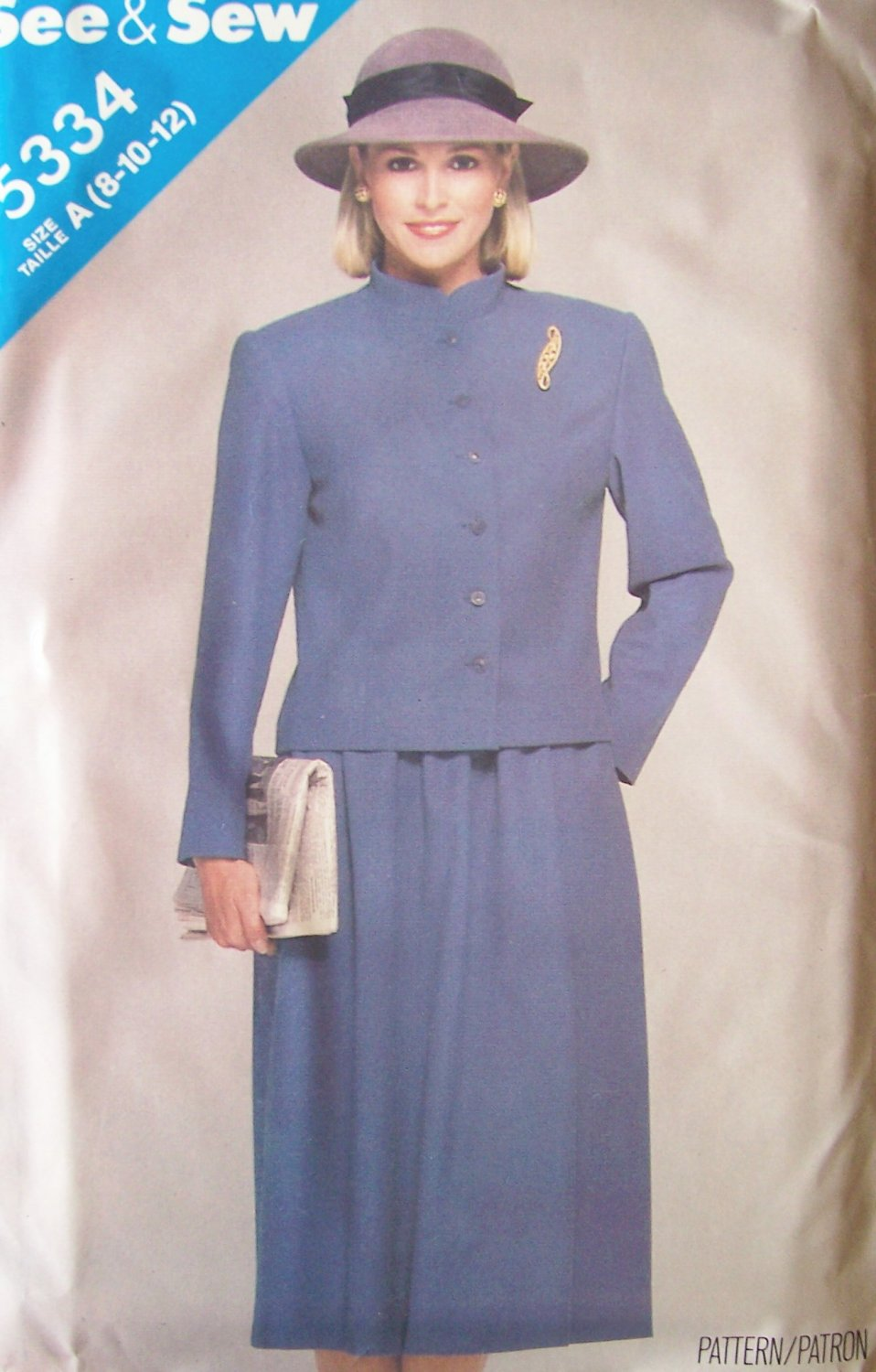 Retro 80�s Butterick 5334 Button Front Jacket and Skirt Pattern Uncut Size 8-12 See and Sew