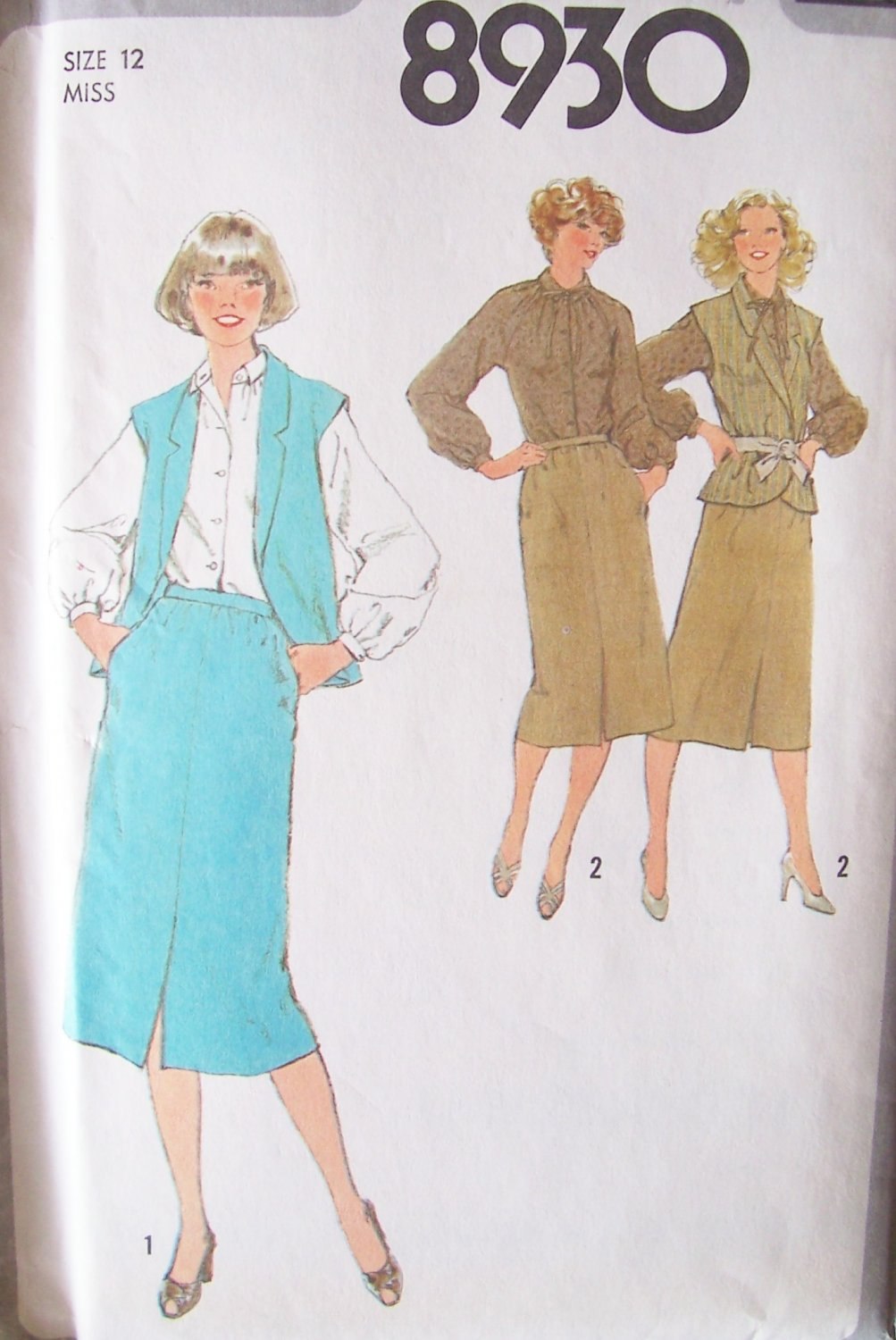 Vintage 70s Simplicity 8930 Shawl Collar Vest Skirt and Raglan Sleeve Blouse Pattern Uncut Size 12