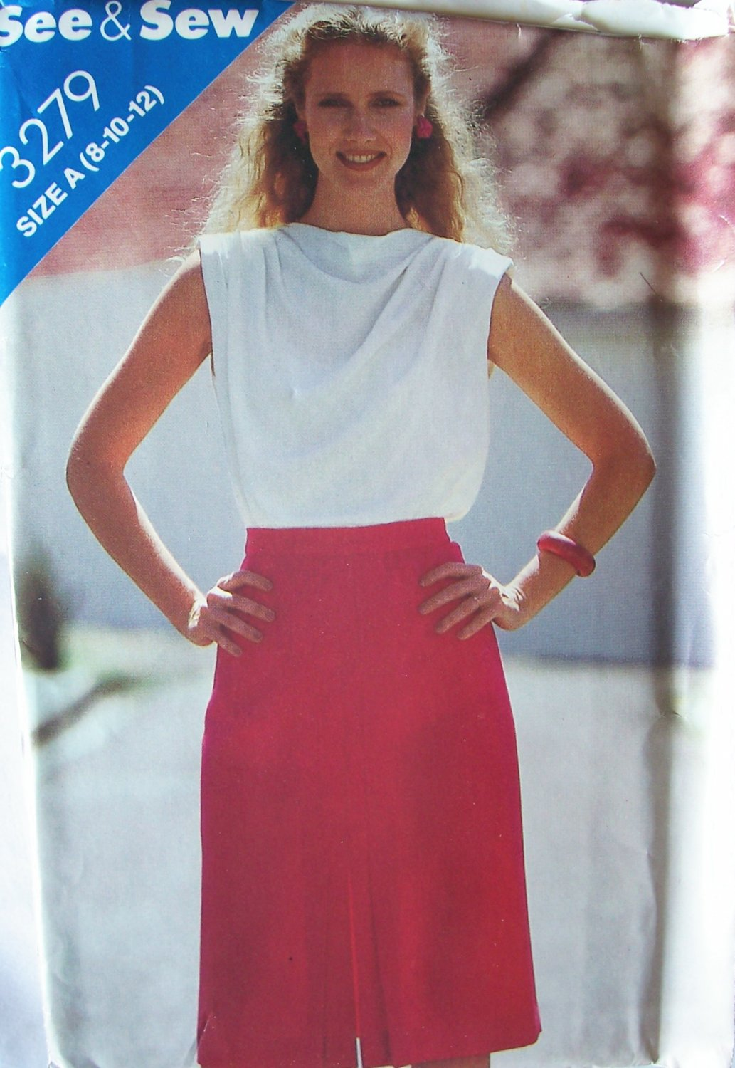 Vintage 70s Butterick 3279 See and Sew Straight Skirt Pattern Uncut Size 8-12