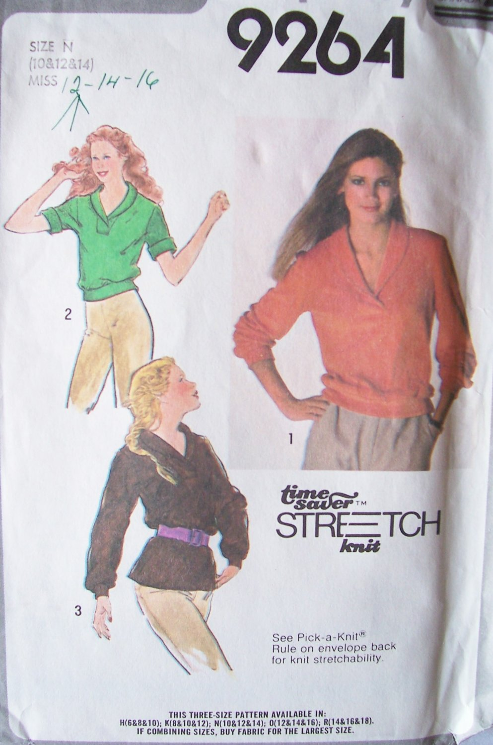 Vintage 70�s Simplicity 9264 Shawl Collar Top Pattern Long Length Uncut Size 10-14