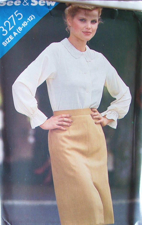 Vintage 80s Butterick 3275 Lace Collar Long Sleeve Blouse Pattern Uncut Size 8-12