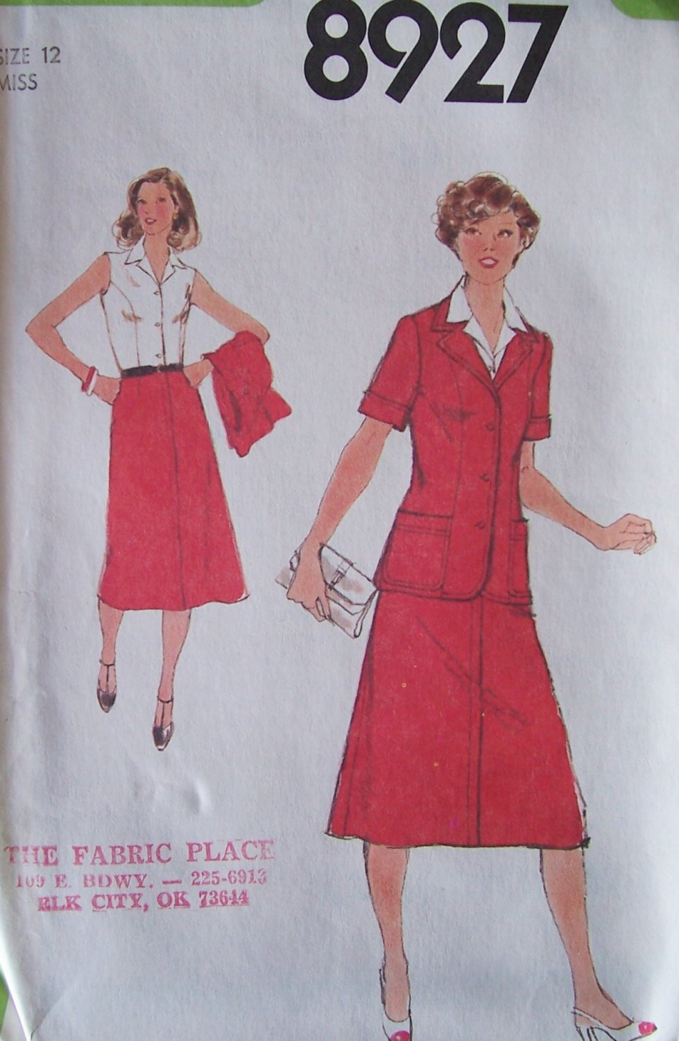 Vintage 70s Simplicity 8927 Sleeveless Dress and Jacket Sewing Pattern Uncut Size 12 Bust 34