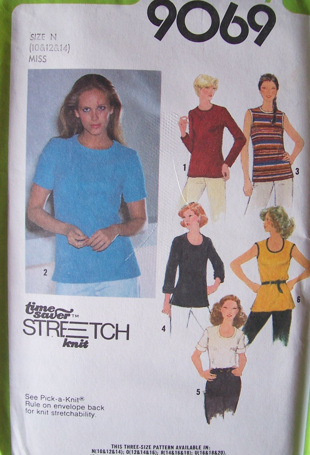 Vintage 70s Simplicity 9069 Tunic Top Pattern Tank Short or Long Sleeve Uncut Size 10-14