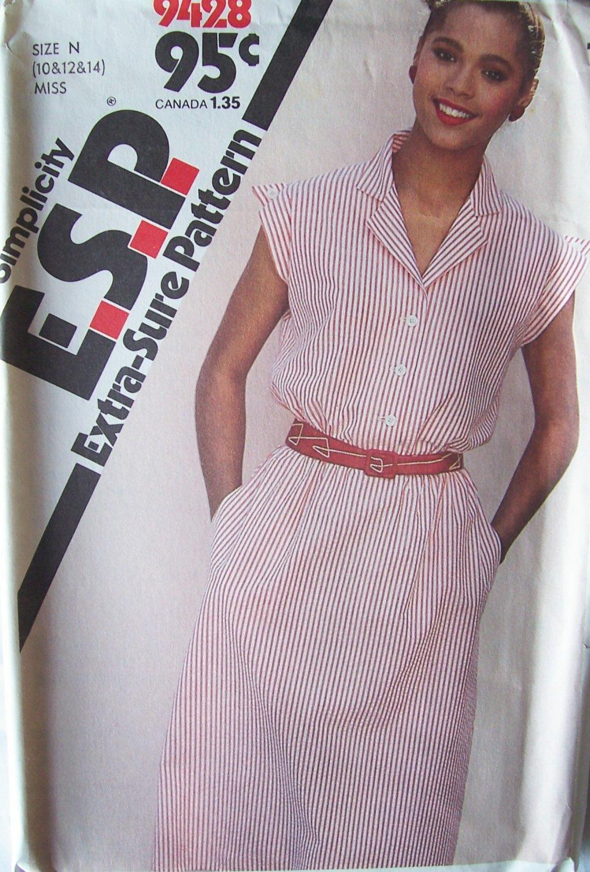 Vintage 80�s Simplicity 9428 Notched Collar Slim Dress Pattern Button Front Uncut Size 10-14