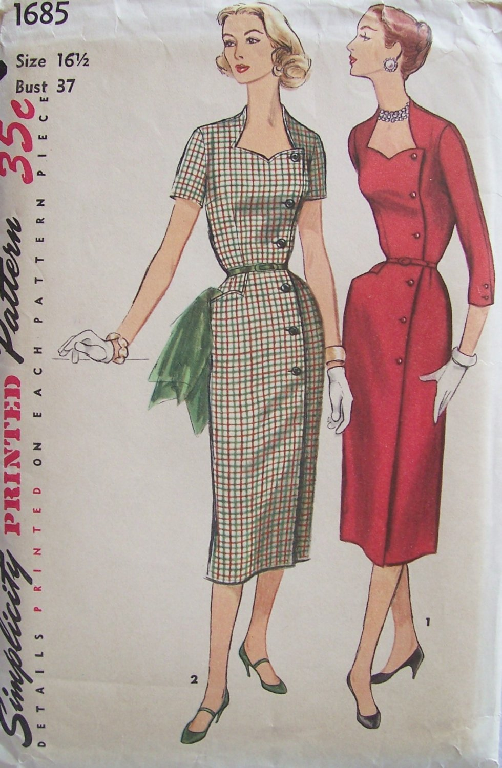 Vintage 50s Simplicity 1685 Sweetheart Neck Slim Wrap Around Dress Pattern Uncut Size 16 ½
