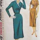 Vintage 1950's Simplicity 1724 Slim Wiggle Dress Pattern Asymmetrical Front Size 16 ½