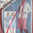 Vintage 1980 Simplicity 9832 Slim Fit Jewel Neck Straight Dress Cardigan Pattern Uncut Size 12-16