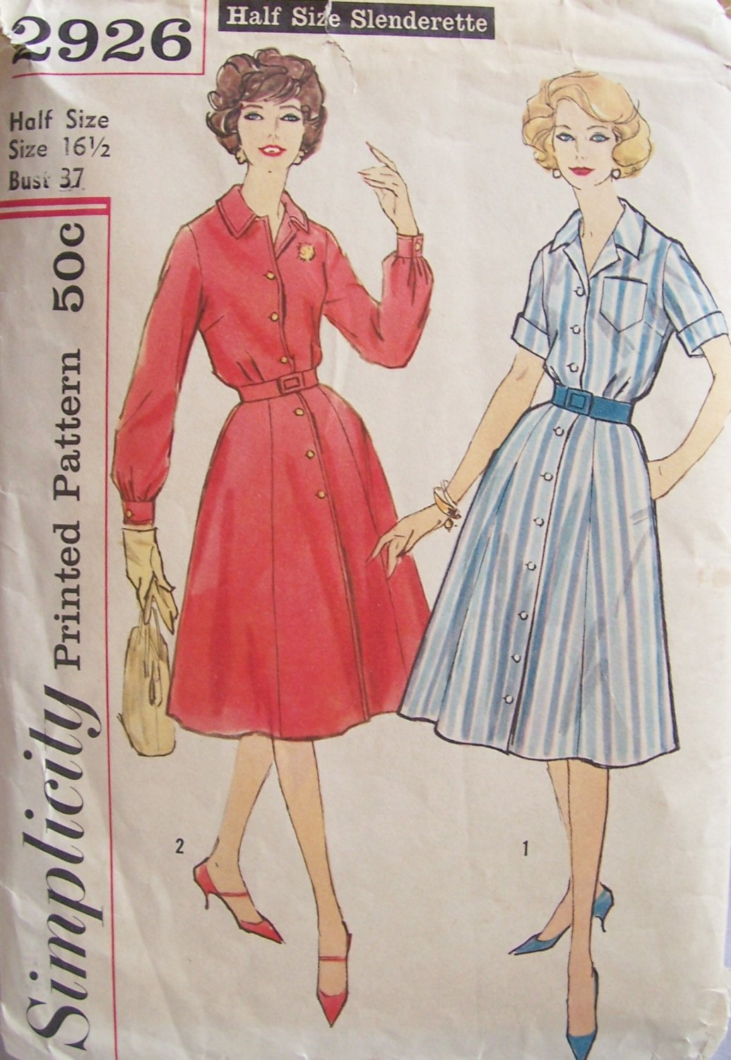 Vintage 50�s Simplicity 2926 Shirtwaist Dress Pattern Front Button Size 16.5 Bust 37