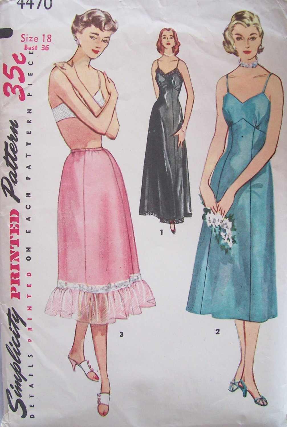 Vintage 1953 Simplicity 4470 Lingerie Full Long Slip and Half Pattern Size 18 Bust 36