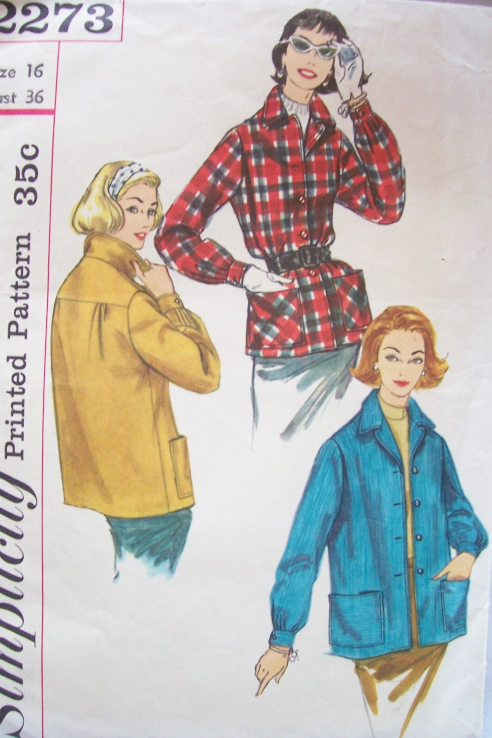 Vintage 50�s Simplicity 2273 Lightweight Casual Fall Winter Jacket Pattern Size 16 Bust 36
