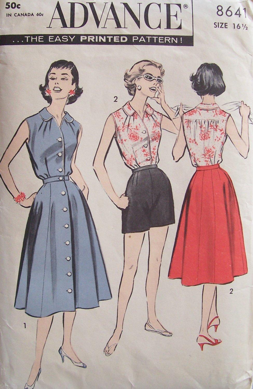 Vintage 50s Advance 8641 Sleeveless Blouse Front Button Skirt Shorts Pattern Uncut Size 16.5