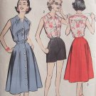 Vintage 50s Advance 8641 Sleeveless Blouse Front Button Skirt Shorts Pattern Uncut Size 16.5
