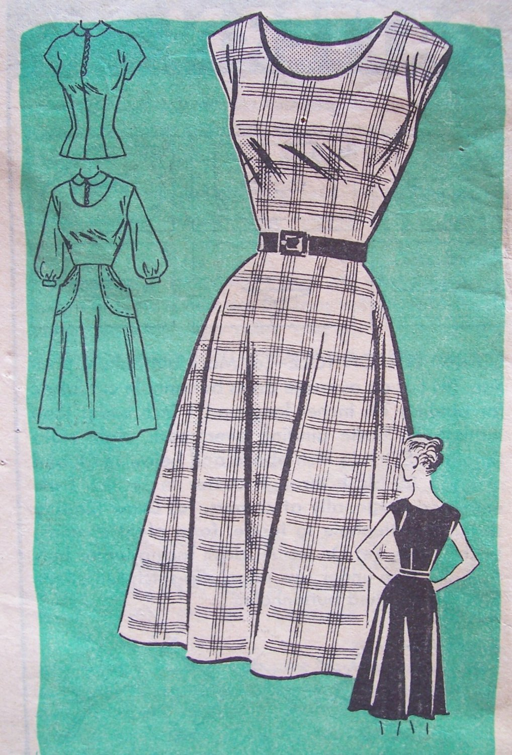 Vintage 50�s Anne Adams 4666 Sleeveless Jumper Dress and Blouse Pattern Size 16.5 Bust 37