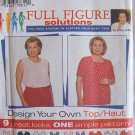 Simplicity 7034 Full Figure Pullover Top Pattern Square Round or V-Neck Uncut Size 26W-32W