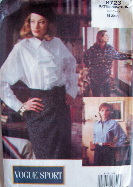 Vogue 8723 Sport Front Button Shirt Pattern Jabot Yoke or Pocket Uncut Size 18-22