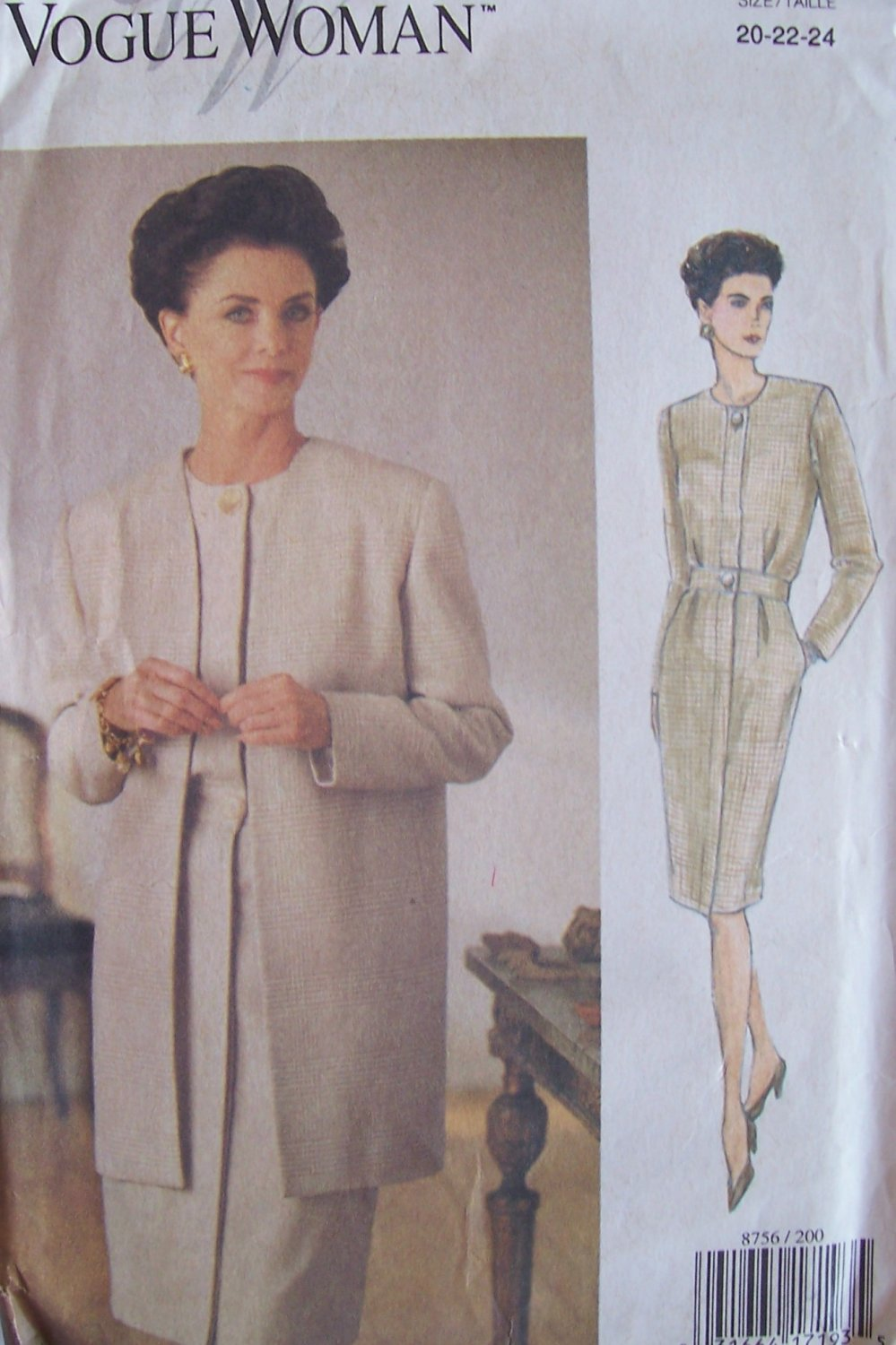 Vogue Woman 8756 Long Sleeve Collarless Dress and Jacket Pattern Uncut Size 20-24