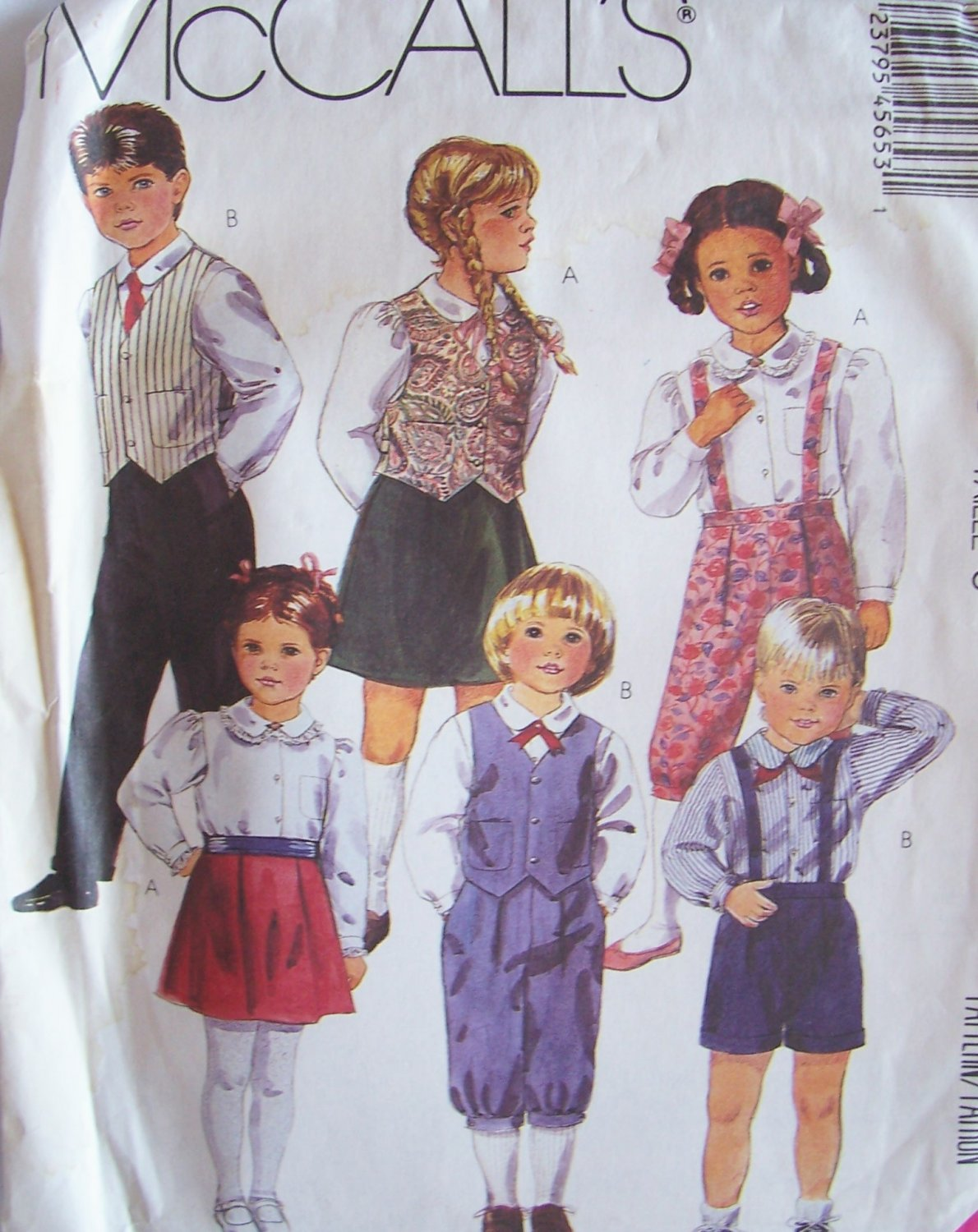 Retro 80�s McCall�s 4565 Children�s Vest Skirt Pants Knickers and Shorts Pattern Uncut Size 5