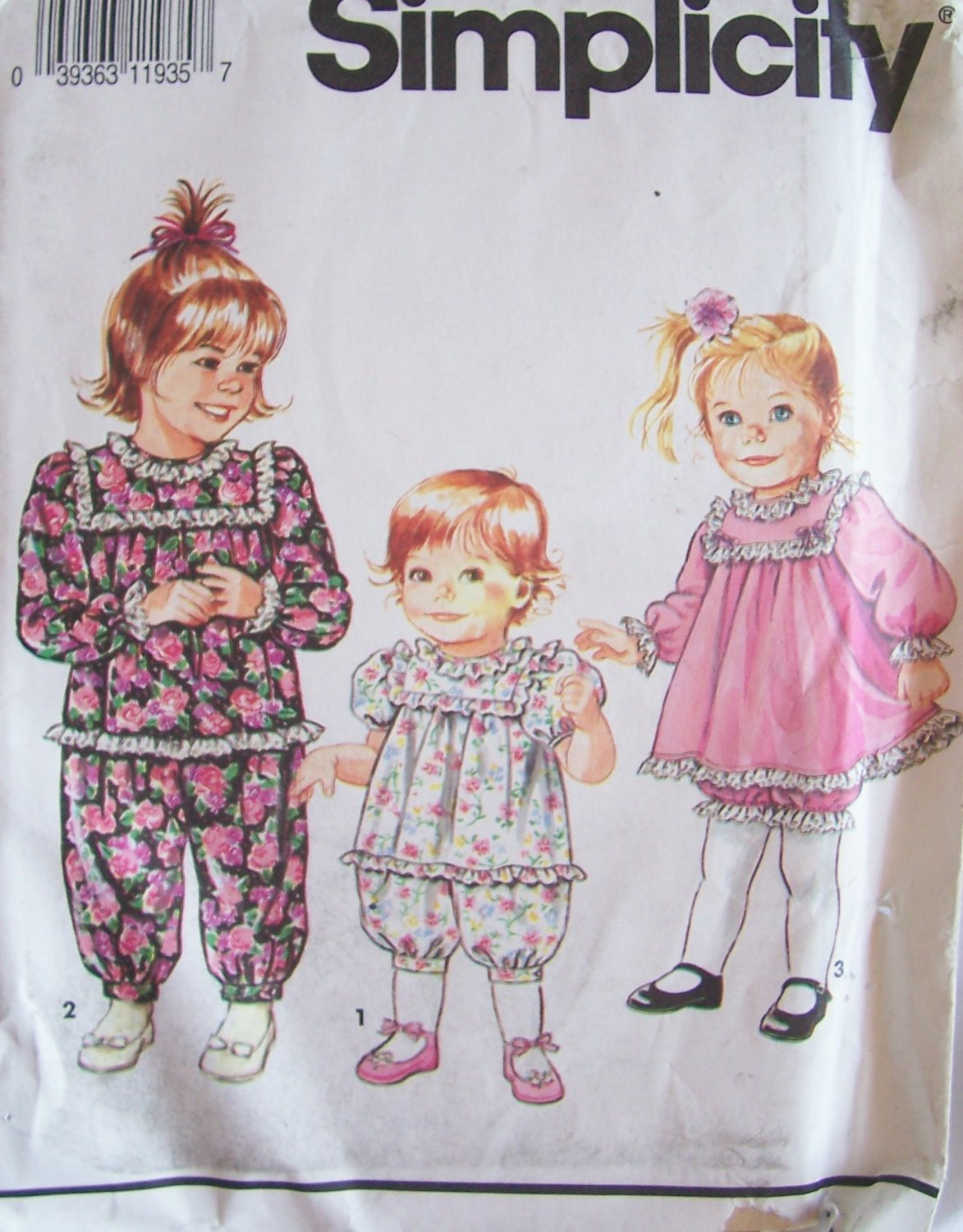 Simplicity 7594 Toddler Girl�s Romper Dress and Bloomers Pattern Uncut Size 2-4