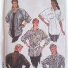 Vintage 80s Simplicity 8355 Oversized Button Front Shirt Pattern Long Short Sleeve Uncut Size 20-24