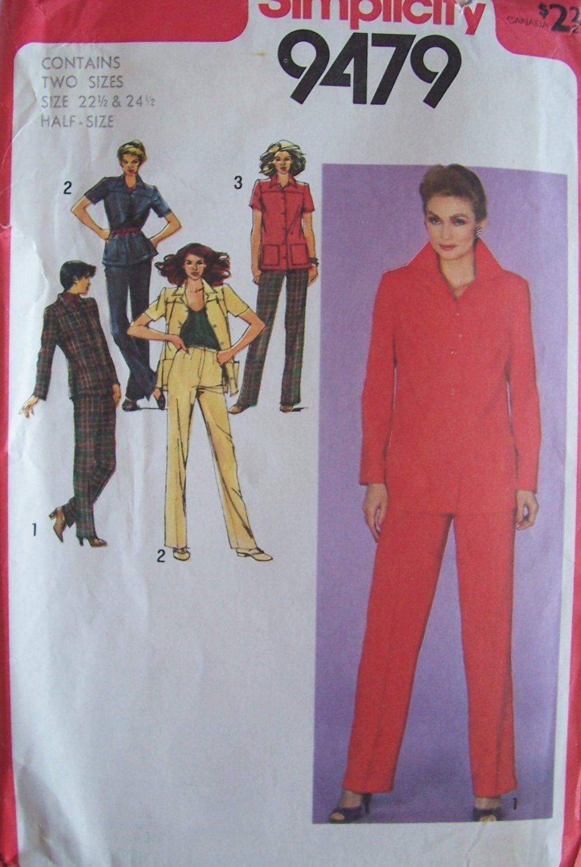 Vintage 80s Simplicity 9479 Straight Leg Pants Shirt Jacket Pattern Uncut Size 22.5-24.5