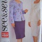 Butterick 3691 See & Sew Princess Seam Zip Front Jacket Straight Skirt Pattern Uncut Size 20-24