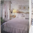 Vintage 80s McCall's 7937 Embroidered Bedding Set Pattern Uncut Dust Ruffle Shams Valance