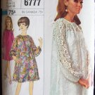 Vintage 60s Simplicity 6777 Tent Dress Sheath Slip Pattern Size 14 Bust 34 Long Raglan Sleeve