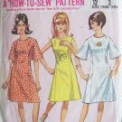 Vintage 60s Simplicity 6936 Bell Sleeve Princess Seam A-Line Dress Pattern Size 16 Bust 36
