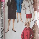 Vintage 60s Simplicity 5103 Winter Coat Pattern Large Collar Two Lengths Size 14
