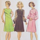 Vintage 70s Simplicity 6096 Asymmetrical Seam Sheer Sleeve Dress Pattern Size 14 Bust 36