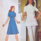 Vintage 70s Simplicity 5292 Standing Collar Tunic or Dress and Pants Pattern Uncut Size 16