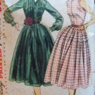 Vintage 50s Simplicity 3848 Full Skirt Shirtwaist Dress Pattern Sleeveless or Long Size 12 Bust 30