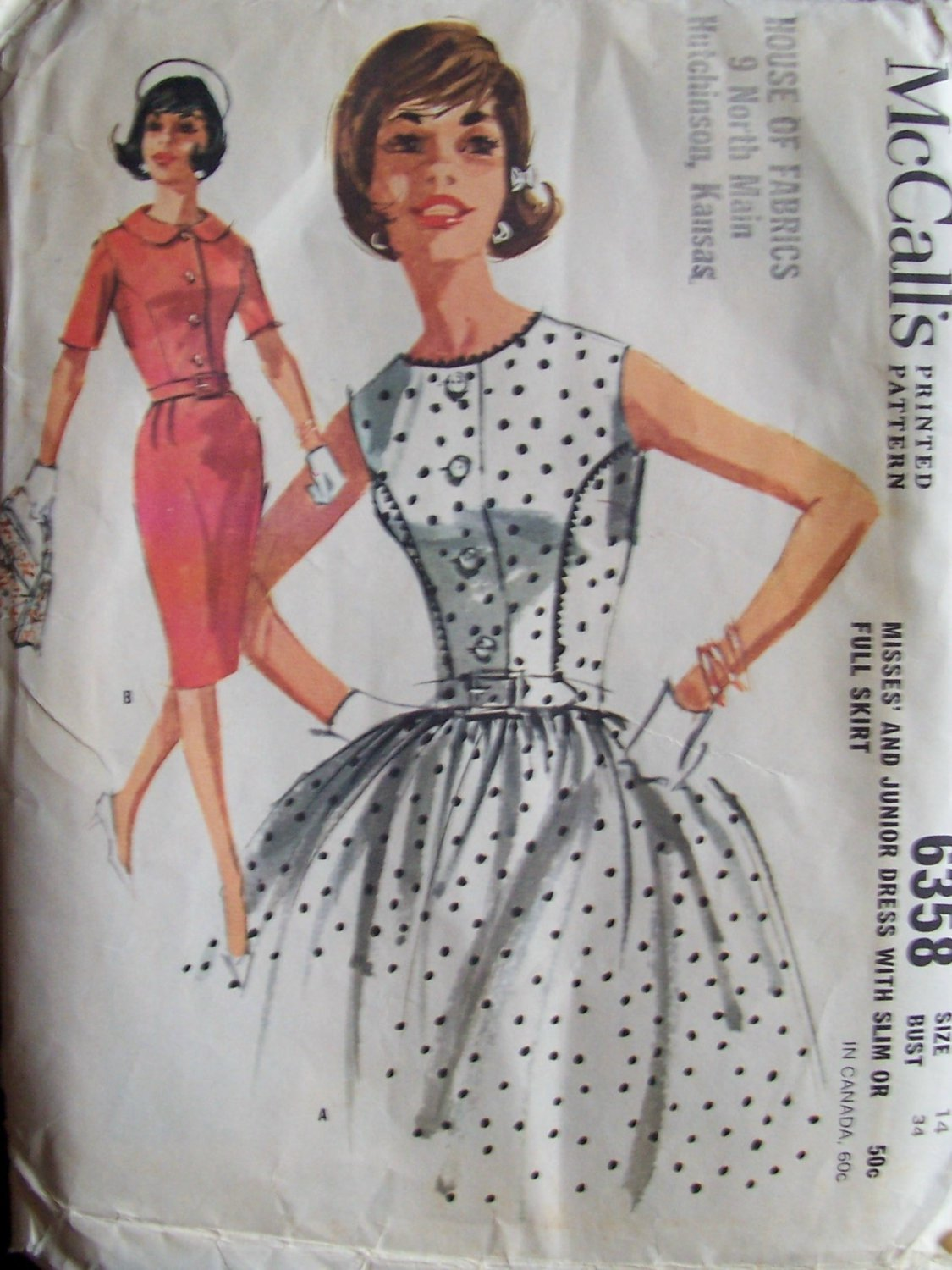 Vintage 60s McCall�s 6358 Slim or Full Gathered Skirt Dress Pattern Uncut Size 14 Front Button