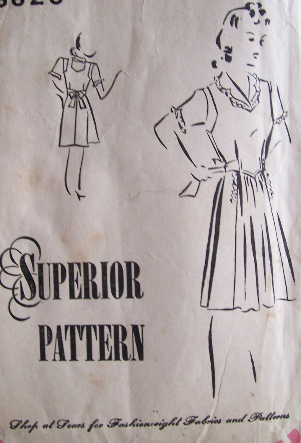 1940�s Superior Pattern 6626 Jumper Dress and Blouse Uncut Size 16 Maternity Expansion